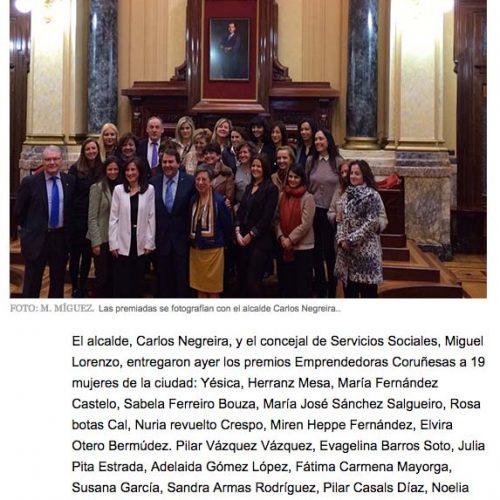 La Voz de Galicia. Premio Emprendedoras.