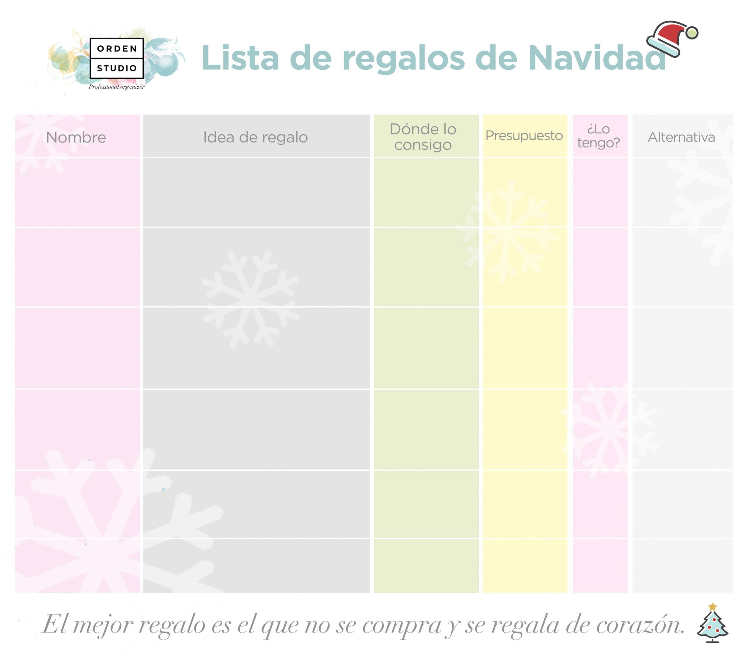 Planificador de regalos de navidad