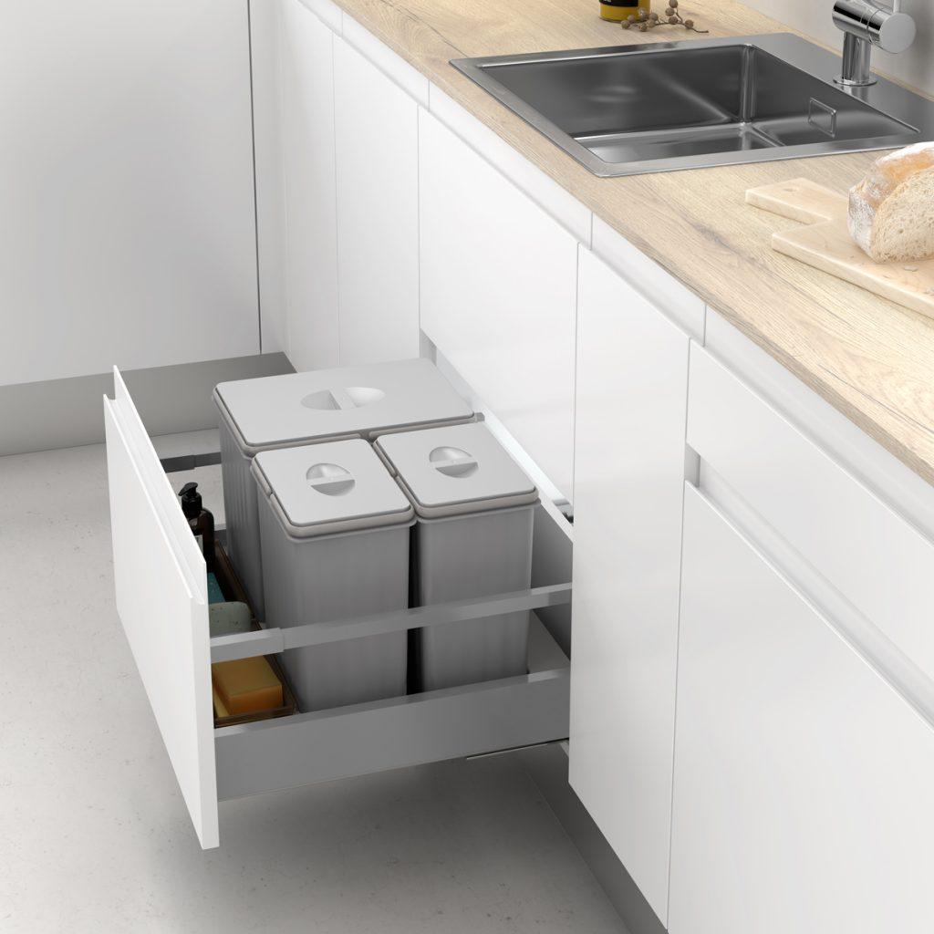 Reciclar en casa ocupando poco espacio - cubos de basura para cajones