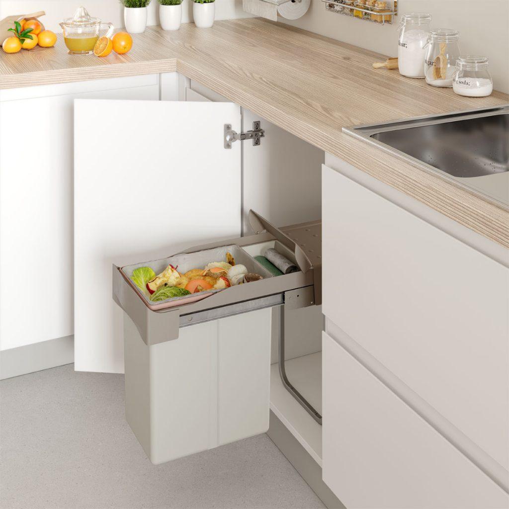 Reciclar en casa ocupando poco espacio - cubos de basura para armarios