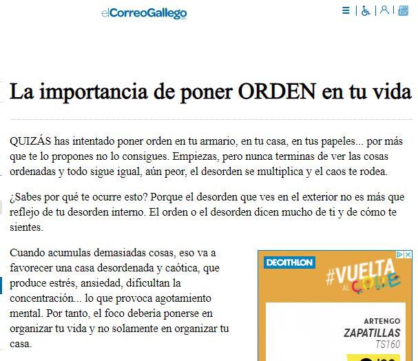 la importancia de poner orden en tu vida - el correo gallego
